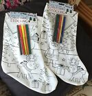 CHRISTMAS STOCKING Kids Craft Colour Your Own Stocking with Pens Santa / Snowman