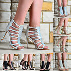 LADIES GLITTER DIAMANTE HIGH HEEL CAGED PEEP TOE EVENING PARTY SANDALS SHOES 3-8