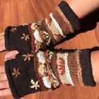 Hand Knitted Thick Lined Warm Winter Fingerless Gloves Nepalese Woollen Mittens