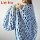 120*150cm Hand Chunky Knitted Blanket Thick Yarn Merino Wool Bulky Knitt Throw image