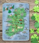 WHAT TO DO IN IRELAND IRISH MAP DUBLIN CORK LIMERICK METAL PLAQUE TIN SIGN 1287
