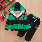 Children's long-sleeved hooded fleece color striped suit boys two-piece clothing