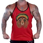 Men's Jamaican Beanie Lion Red Stringer Tank Top Workout Reggae Rasta Rave Weed