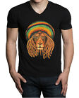 Men's Jamaican Beanie Lion V-Neck Black T Shirt Reggae Rasta Rave Weed Music EDM