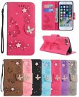 3D Butterfly Bling Strass Patterned Flip PU Leather Card Pocket Case Soft Cover