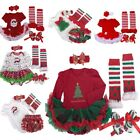 Newborn Infant Baby Girls Christmas Party Romper Dress Sets 4pc Outfits 0 3 6 9M