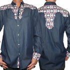 Rock Roll N Soul Fly Side Insect Western Men ButtonUp Dress Shirt Navy Blue S-2X