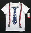 Epic Threads Little Boys Short Sleeve White Patriotic Suspenders Graphic T-Shirt