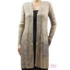 Women's Paisley sublimation Ribbed Front Draped Long Sleeve Cardigan w Slit Side