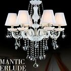 Crystal K9 Chandelier WHITE 6/8/10 Arm Candle Water Droplet with Lampshade