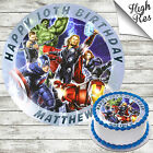 AVENGERS ROUND EDIBLE BIRTHDAY CAKE TOPPER DECORATION PERSONALISED