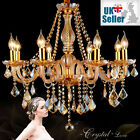 Genuine K9 Crystal Chandelier AMBER GOLDEN 6, 8, 10 Lights Candle Pendant Lamp