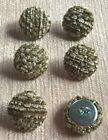 Textured Chenille 30L/19mm Celadon Upholstery Fabric Covered Buttons (Green)