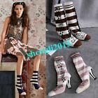 Womens Stripe Knitted Socks Mid Calf Boots Flower Embroidery Elastic Shoes Block