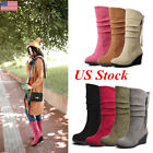 Us Winter Snow Boots Women Ladies Mid-calf Solid Wedges Warm Plush Simple Boots