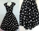 BLACK PARIS NOVELTY PRINT PLUS DRESS PINUP ROCKABILLY SWING 50S XL 1X 2X 3X