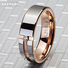 New Gift Men Women Tungsten Carbide Rose-gold plate C.Z. ring wedding band A72