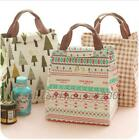 Insulated Lunch Bento Bag Reusable Canvas Storage Box Picnic Tote Large Capacity