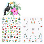 3D Nail Flamingo Toucan Stickers Tropical Flower Bird Manicure Adhesive Decals