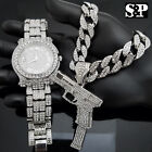 "Men Luxury Hip Hop Iced Watch & 37 Rip Mary Gun & 16"" Full Iced Cuban Chain image"