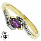 BJC® 9ct Yellow gold Amethyst & Diamond Marquise Twist engagement ring R250
