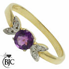 BJC® 9ct Yellow gold Amethyst & Diamond Flower Solitaire engagement ring R249