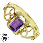 BJC® 9ct Yellow gold Amethyst Celtic Emerald Solitaire engagement ring R248