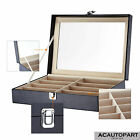 Eyeglasses Sunglasses Box Organizer Display Case 8/12 Compartments Leatherette