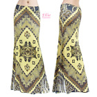 Paisley Brown Boho Sublimation maxi long skirt S/M/L/XL/1XL/2XL/3XL