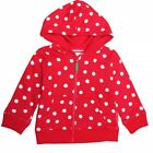 Toby Tiger Girls Red Spot Hoodie.100% Organic Cotton, 0-6 Years.