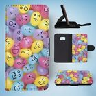 CUTE CANDY JELLY BEAN FACES FLIP WALLET CASE COVER FOR SAMSUNG GALAXY S7 EDGE