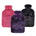 HOT WATER BOTTLE 2 LITRE PLUSH EMBROIDERED SLOGAN DETAIL COVER XMAS GIFT NEW
