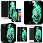 sillicone gel case cover for majority Mobile phones - blue fire skull silicone
