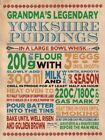 GRANDMA'S YORKSHIRE PUDDING RECIPE ROAST BEEF KITCHEN CAFE METAL PLAQUE SIGN 763