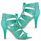 Lace Up Sandals - High Heels - Stilettos - Turquoise
