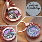 Personalised  Birthday Gift Floating Memory Locket keyring -18th 30th 40th ##