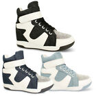 Ladies Womens Wedge Trainer Ankle Boots Hi Top Lace Up Strap New Shoe Size