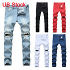 Men's Denim Distressed Jeans Washed Stretchy Tapered Leg with Holes Ripped Jeans