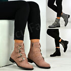 New Womens Ladies Low Heel Ankle Boots Buckle Strap Side Zip Shoes Size Uk 3-8