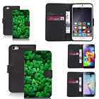 Black pu leather wallet case cover for most mobiles- green clover