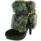 Qupid Luxe platform faux fur suede 5 inch high heel fashion cuffed ankle boots