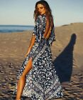 New SPELL & THE GYPSY Collective Lolita Cut Out  Crop Maxi Blue Dress AA796
