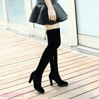 Chic Womens Suede Over the Knee Thigh Boots Stretchy High Heels Shoes Black
