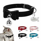 Suede Small Dog Kitten Cat Collar  Tag Disc Engraved Bow Tie Pet Puppy Necktie