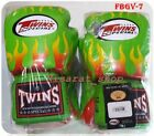 twins sparring gloves - TWINS BOXING GLOVES FBGV-7 FANCY GREEN FLAME SPARRING MUAY THAI MMA LEATHER