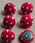 Red & White Spotty/Spots/Dotty/Dots 30L/19mm Fabric Covered Buttons Craft Sewing