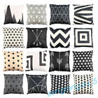 "18"" Classical Black Beige Cushion Cover Abstract Pillow Shell Cotton Linen Deco"