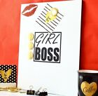 Girl Boss Notice board Magnetic memos messages plan GIFT 3 sizes Gold magnets M7