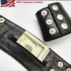 Black Cow Leather Wristband Arm Money Wallet Hand Cuff Wrist Band Brand New