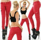 Women's cargo skinny stretch Jeans Trousers 3 colours UK sizes  6 8 10 12 14